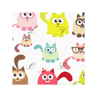 Cute cats,kid pattern,colorful,happy,fun,girly stretched canvas prints