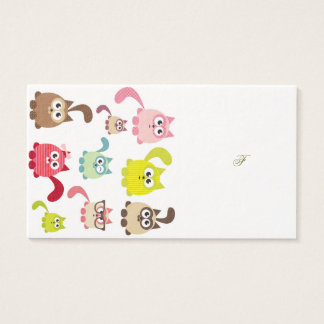 Cute cats,kid pattern,colorful,happy,fun,girly,tre business card