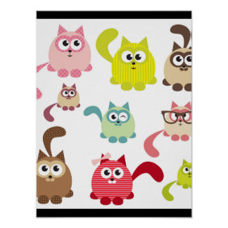 Cute cats,kid pattern,colorful,happy,fun,girly,tre poster