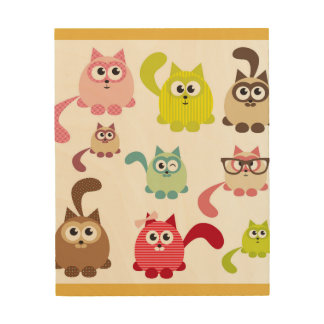 Cute cats,kid pattern,colorful,happy,fun,girly,tre wood prints