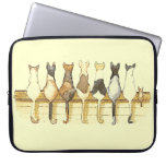 Cute cats lineup back sides laptop sleeve