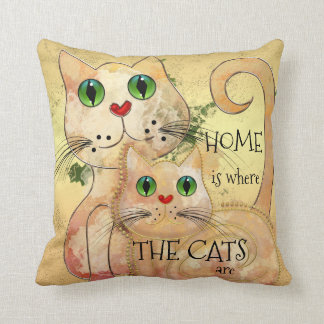 Cute Cats Original Art Pillow