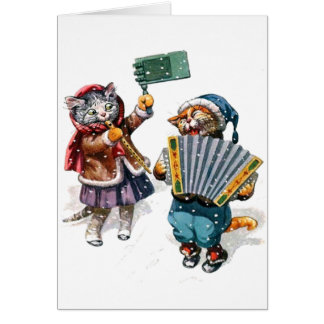 Cute Cats Play the Accordion in the Snow Card