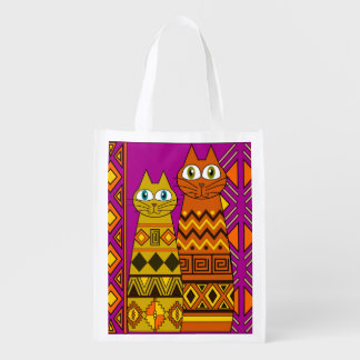 cute cats. recyclable bag. reusable grocery bag