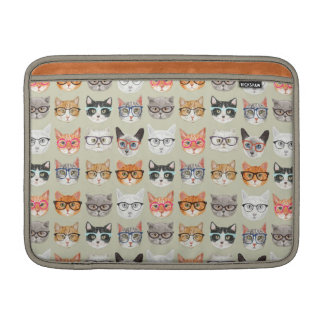 Cute Cats Wearing Glasses Pattern MacBook Sleeves