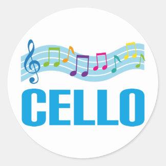 Cute Cello Music Staff blue Classic Round Sticker