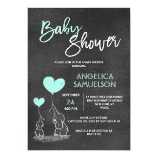 Cute Chalkboard MINT Mommy Elephant & Baby Shower Card