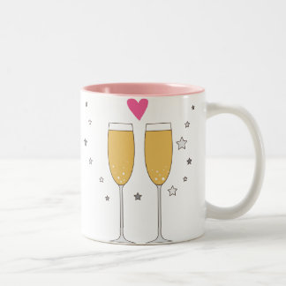 Cute Champagne Glass Toast Love Heart Mug