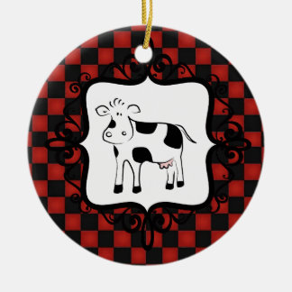 Cute Checkerboard Cow Whimsical Animal Ceramic Ornament