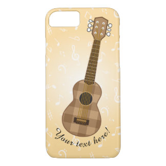 Cute Checkered Brown Guitar Graphic iPhone 8/7 Case