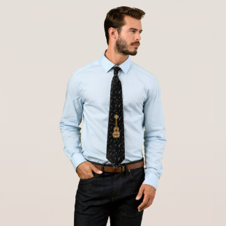 Cute Checkered Brown Guitar Graphic Tie