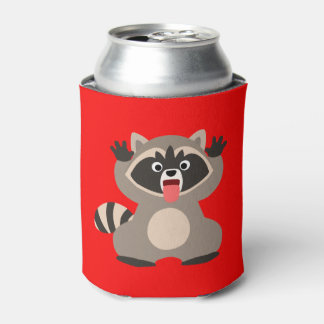 Cute Cheeky Cartoon Raccoon Can Cooler