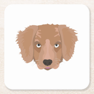 Cute cheeky Puppy Square Paper Coaster