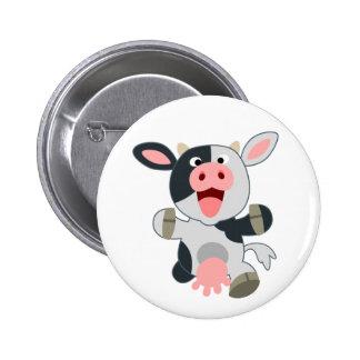 Cute Cheerful Cartoon Cow 2 Inch Round Button