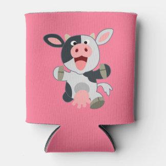 Cute Cheerful Cartoon Cow Can Cooler
