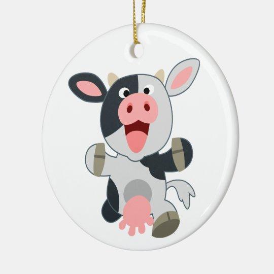 Cute Cheerful Cartoon Cow Round Ceramic Ornament