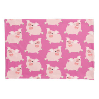 Cute Cheerful Cartoon Pigs Pattern Pillowcase