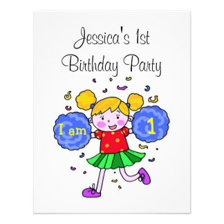 Cute cheerleader 1st birthday girl party custom invite