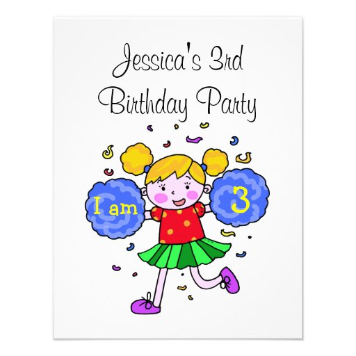 Cute cheerleader 3rd birthday girl party personalized announcements