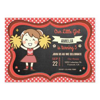 Cute Cheerleader Girl Birthday Party Invitation