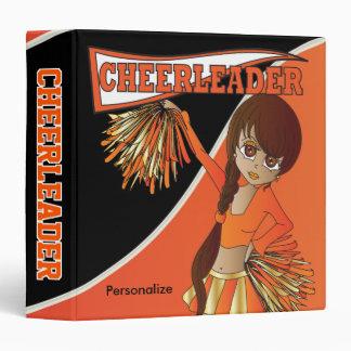 Cute Cheerleader Girl in Orange Vinyl Binders