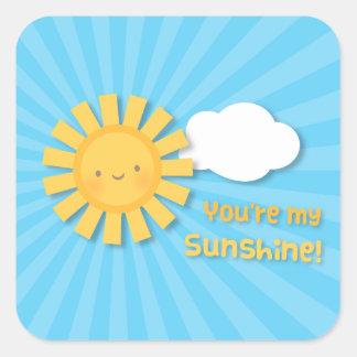 Cute Cheery You Are My Sunshine Appreciation Square Sticker