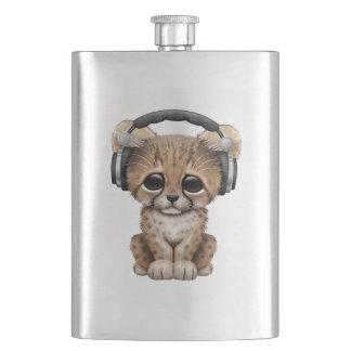 Cute Cheetah Cub Dj Wearing Headphones Flasks