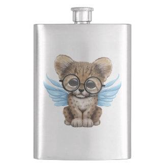 Cute Cheetah Cub Fairy Wearing Glasses on Blue Hip Flask