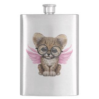 Cute Cheetah Cub Fairy Wearing Glasses on Pink Hip Flask