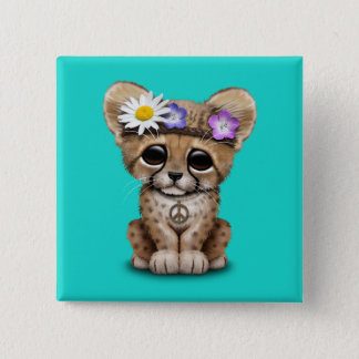 Cute Cheetah Cub Hippie 2 Inch Square Button
