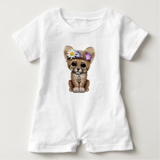Cute Cheetah Cub Hippie Baby Romper
