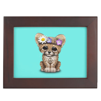 Cute Cheetah Cub Hippie Keepsake Box