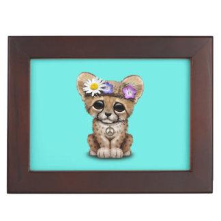 Cute Cheetah Cub Hippie Keepsake Boxes