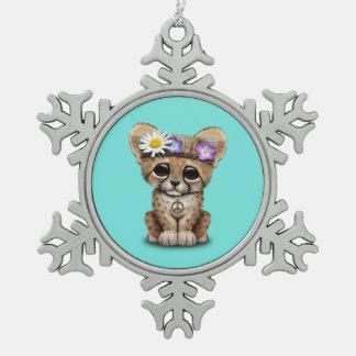Cute Cheetah Cub Hippie Snowflake Pewter Christmas Ornament