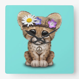 Cute Cheetah Cub Hippie Square Wall Clock