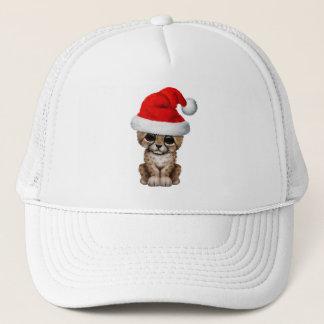 Cute Cheetah Cub Wearing a Santa Hat