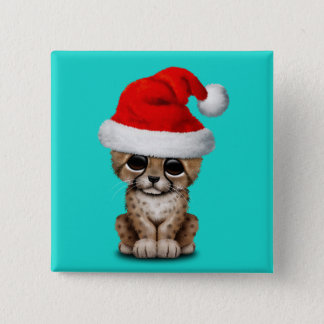 Cute Cheetah Cub Wearing a Santa Hat 2 Inch Square Button
