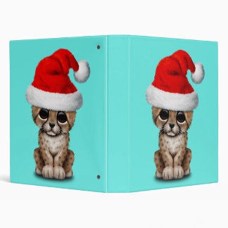 Cute Cheetah Cub Wearing a Santa Hat 3 Ring Binder