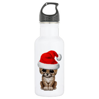 Cute Cheetah Cub Wearing a Santa Hat 532 Ml Water Bottle
