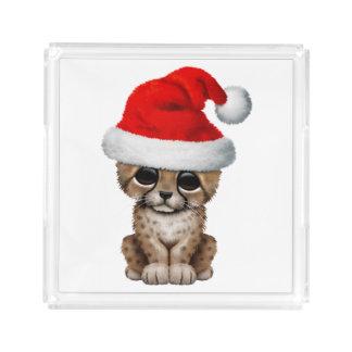 Cute Cheetah Cub Wearing a Santa Hat Acrylic Tray