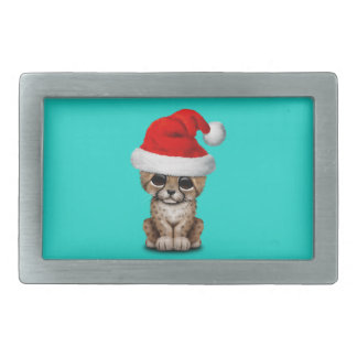 Cute Cheetah Cub Wearing a Santa Hat Belt Buckles