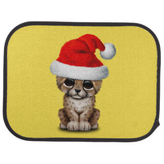 Cute Cheetah Cub Wearing a Santa Hat Car Mat
