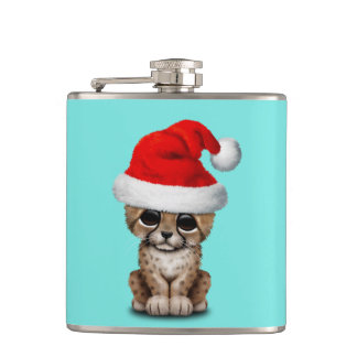 Cute Cheetah Cub Wearing a Santa Hat Hip Flask