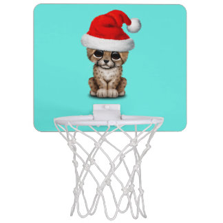 Cute Cheetah Cub Wearing a Santa Hat Mini Basketball Hoop