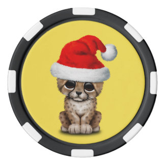 Cute Cheetah Cub Wearing a Santa Hat Poker Chips