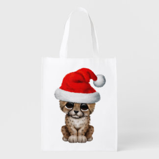 Cute Cheetah Cub Wearing a Santa Hat Reusable Grocery Bag