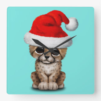 Cute Cheetah Cub Wearing a Santa Hat Square Wall Clock