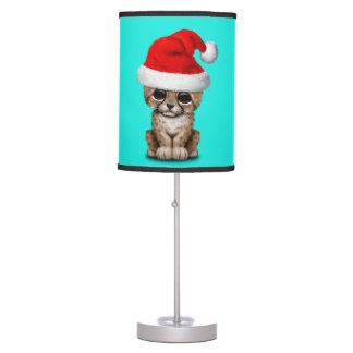 Cute Cheetah Cub Wearing a Santa Hat Table Lamp