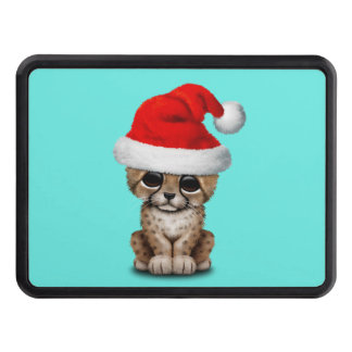 Cute Cheetah Cub Wearing a Santa Hat Trailer Hitch Cover