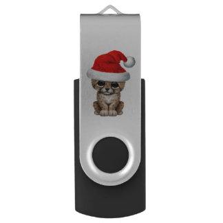 Cute Cheetah Cub Wearing a Santa Hat USB Flash Drive